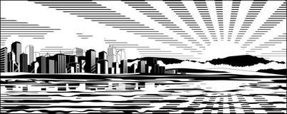 черная белизна городского пейзажа Стоковое Фото