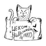 Черная белизна изолировала злого кота держа плакат с приглашением к хеллоуину вручите вычерченные эскизы, элементы для карточки п Стоковые Изображения
