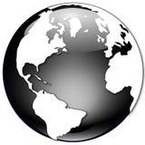 черная белизна иллюстрации глобуса Стоковое Изображение