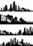 черная белизна панорамы городов Стоковые Изображения