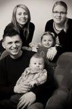 черная белизна портрета семьи Стоковые Фотографии RF