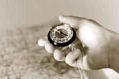 черная белизна руки компаса Стоковая Фотография RF