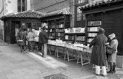 черная белизна съемки madrid bookstore Стоковая Фотография RF