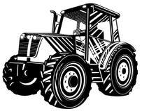 черная белизна трактора Стоковое Изображение