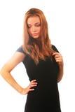 черная белокурая девушка платья Стоковое Изображение RF
