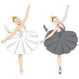 Черная & белая балерина иллюстрация штока