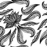Черная белая безшовная картина с лотосом Элементы стиля Boho предпосылка рисуя флористический вектор травы Стоковое Изображение RF