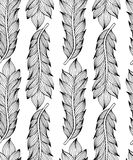 Черная белая безшовная картина с пер Элементы стиля Boho предпосылка рисуя флористический вектор травы Стоковое Изображение