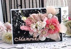 Черная, белая и розовая handmade карточка Стоковое Изображение RF