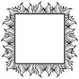 Черная белая приданная квадратную форму рамка с спуртами пламени также вектор иллюстрации притяжки corel Стоковые Фото