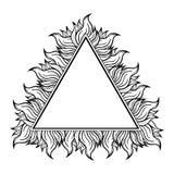 Черная белая рамка треугольника с спуртами пламени также вектор иллюстрации притяжки corel Стоковое Изображение RF