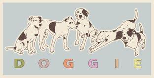 Черная & белая собака в различных положениях совместно клеймит формировать иллюстрация штока