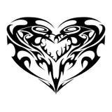 Черная белая татуировка сердца Стоковая Фотография