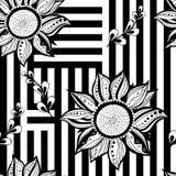 Черная белая флористическая безшовная предпосылка Самомоднейший тип также вектор иллюстрации притяжки corel Стоковое Изображение