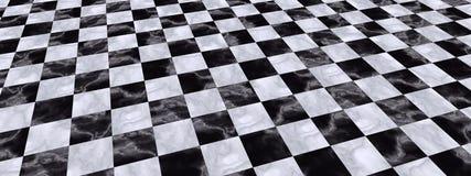Черная белая Checkered иллюстрация пола Стоковые Фотографии RF