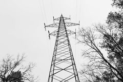 черная белизна Высокие основы поляка электричество Высоковольтная сеть стоковые фотографии rf
