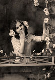 черная белизна сбора винограда портрета изображения Стоковое Изображение