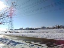 черная белизна улицы снежка фото Стоковые Изображения RF
