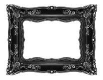 Черная богато украшенная рамка на белизне Стоковая Фотография RF