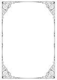Черная богато украшенная рамка, флористические виньетки, углы Стоковая Фотография