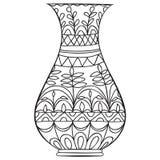 Черная ваза doodle для цветков Стоковые Фото