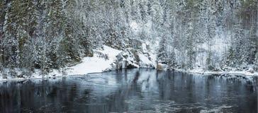 Черная вода реки под лесом зимы Стоковая Фотография