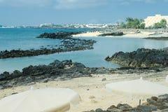 Черная вулканическая порода вдоль береговой линии Лансароте, Arrecife Стоковое фото RF