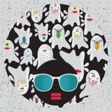 Черная головная женщина с странными волосами картины. иллюстрация штока