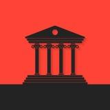 Черная греческая колоннада на красной предпосылке иллюстрация вектора