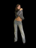 черная девушка изолировала представления стоя молода Стоковое Изображение RF