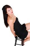 черная девушка платья довольно Стоковая Фотография RF