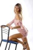 черная девушка стула блестящая Стоковое Фото