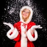 черная девушка santa рождества Стоковые Фото