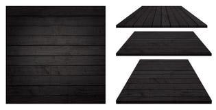 Черная деревянная доска, таблица, поверхность пола, деревянная текстура Предметы изолированы на белой предпосылке Стоковые Изображения