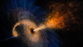 Черная дыра с межзвёздным облаком над красочными звездами стоковое изображение rf