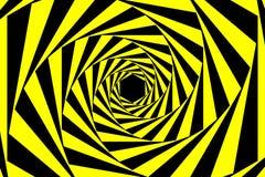 Черная желтая предупреждающая спиральная предпосылка конспекта тоннеля Стоковые Фотографии RF