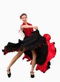 черная женщина красного цвета платья танцы Стоковая Фотография RF