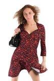 черная женщина красного цвета платья Стоковые Фотографии RF
