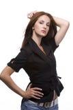 черная женщина куртки Стоковое фото RF