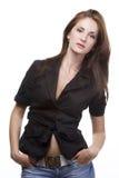 черная женщина куртки Стоковая Фотография