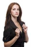черная женщина куртки Стоковые Фото