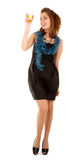 черная женщина стекла платья шампанского Стоковые Фото