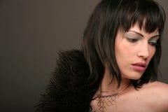 черная женщина шерсти пальто Стоковое фото RF