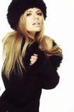 черная женщина шлема шерсти пальто Стоковое Изображение RF
