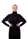 черная женщина turtleneck свитера Стоковое фото RF