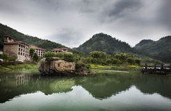 Черная живописная местность долины горы стоковые фотографии rf