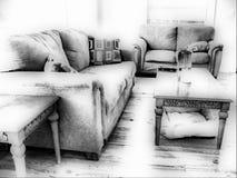 черная живущая белизна комнаты Стоковое Фото