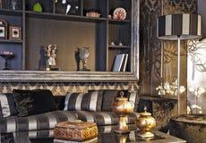черная живущая комната Стоковая Фотография