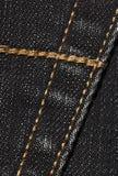 Черная джинсовая ткань с швами Стоковые Фотографии RF
