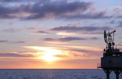 черная зима захода солнца моря Стоковая Фотография RF